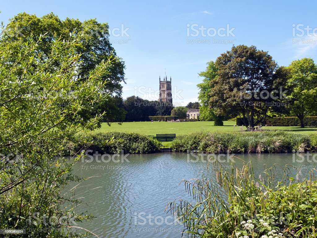 Picturesque Cotswolds, Cirencester church and park stock photo