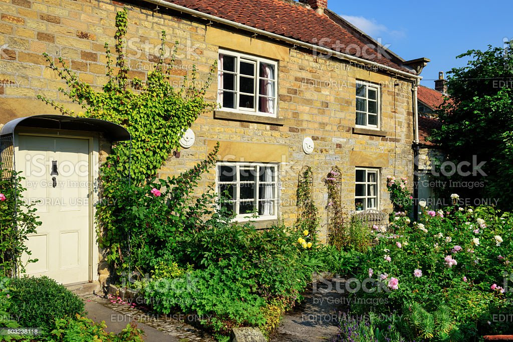 Picturesque cottage and garden, North Yorkshire stock photo