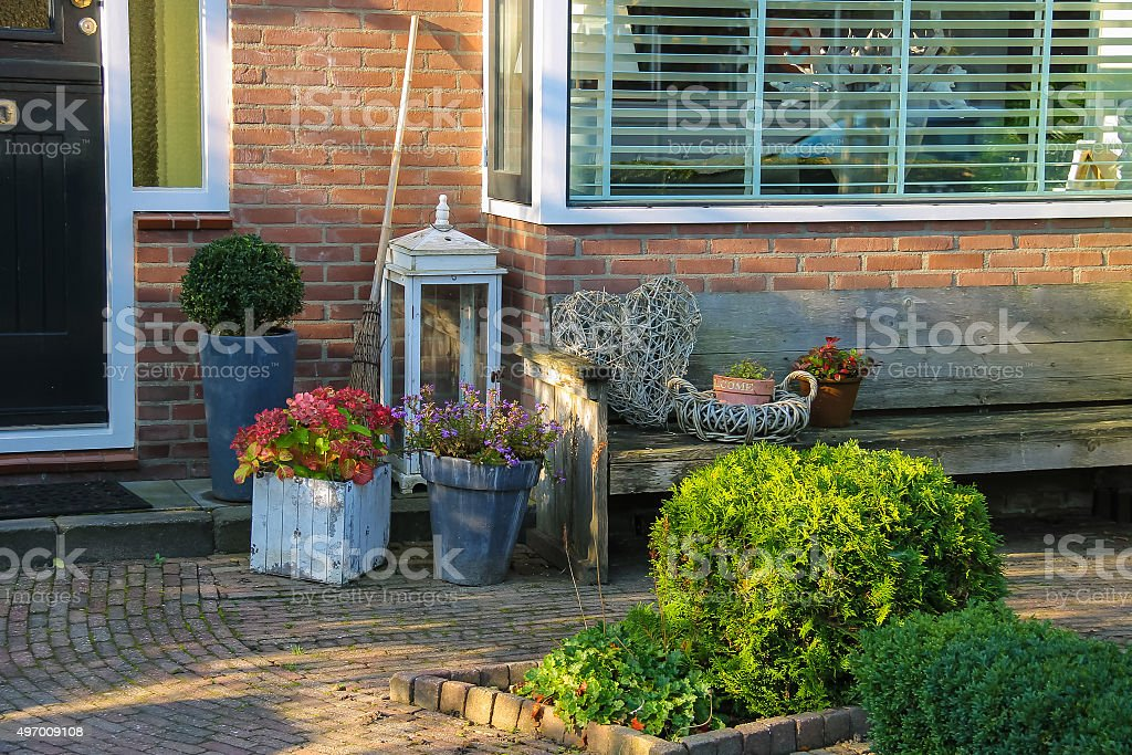 Picturesque decorative plants before residential house stock photo