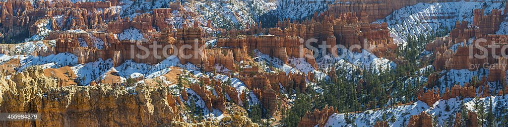 Picturesque desert wilderness in snow Bryce Canyon National Park panorama stock photo