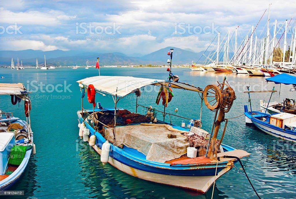 Picturesque fishing boats, Fethiye, Turkey stock photo