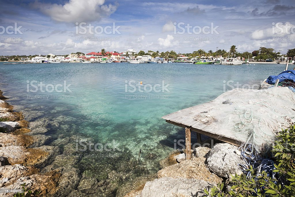 Picturesque Fishing Port in Guadeloupe stock photo