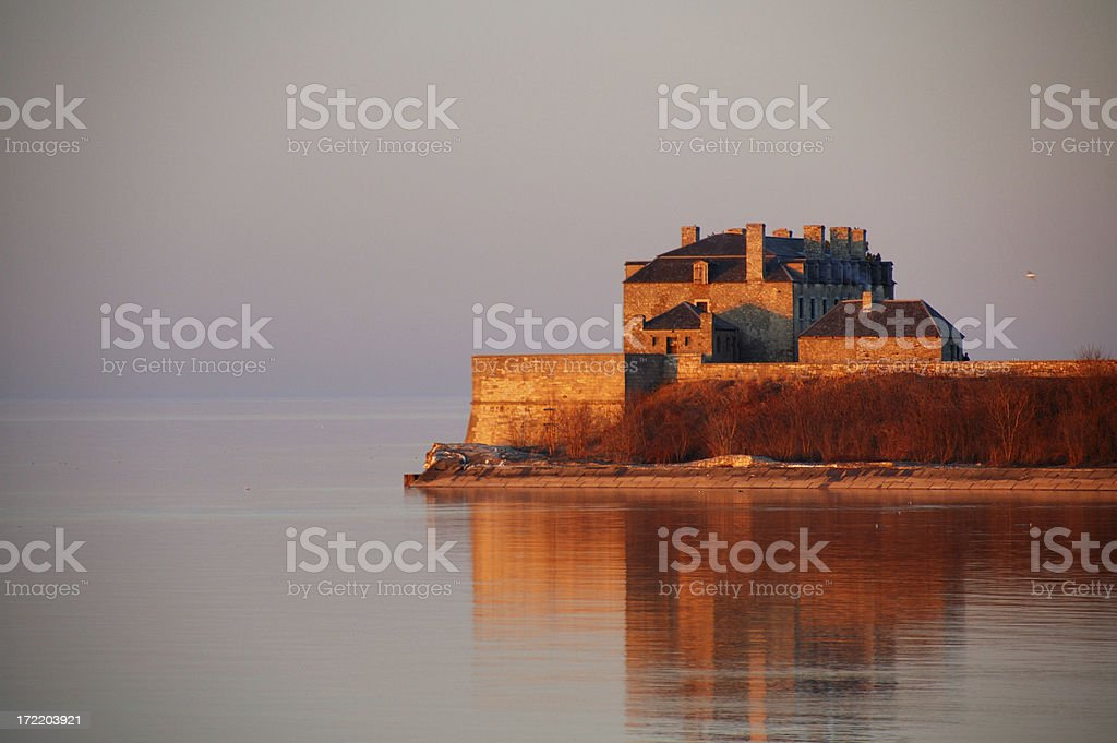 Picturesque fortress at sunset stock photo