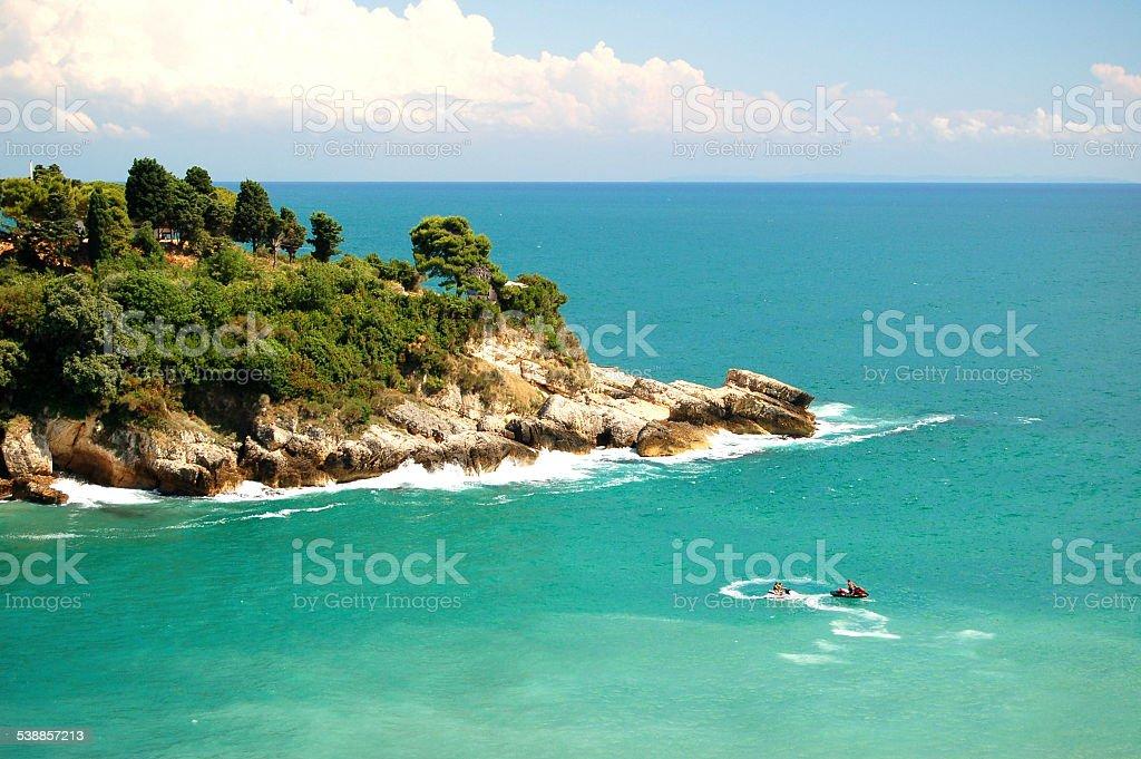 Picturesque gorgeous cliff in Ulcinj, Montenegro stock photo