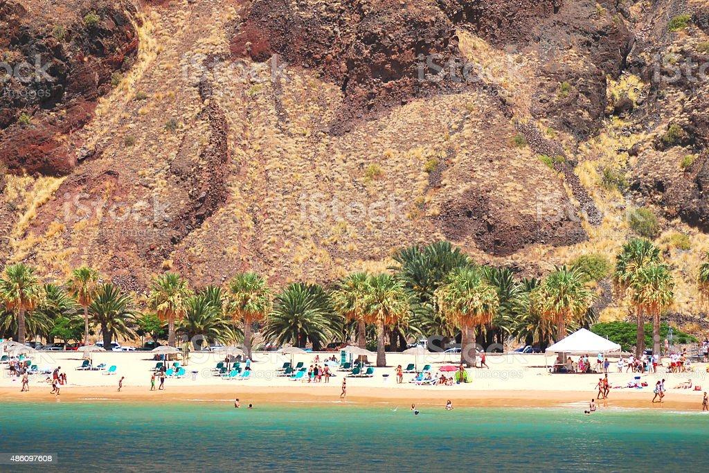 picturesque gorgeous view on Teresitas beach on Tenerife island, Spain stock photo
