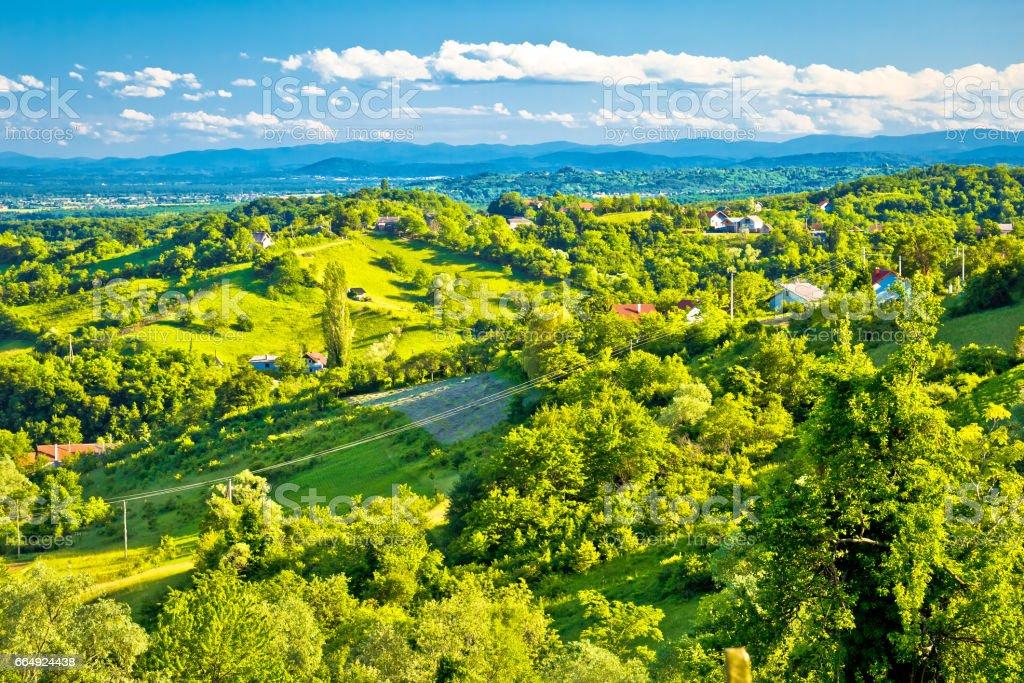 Picturesque green hills of Plesivica view, northern Croatia stock photo