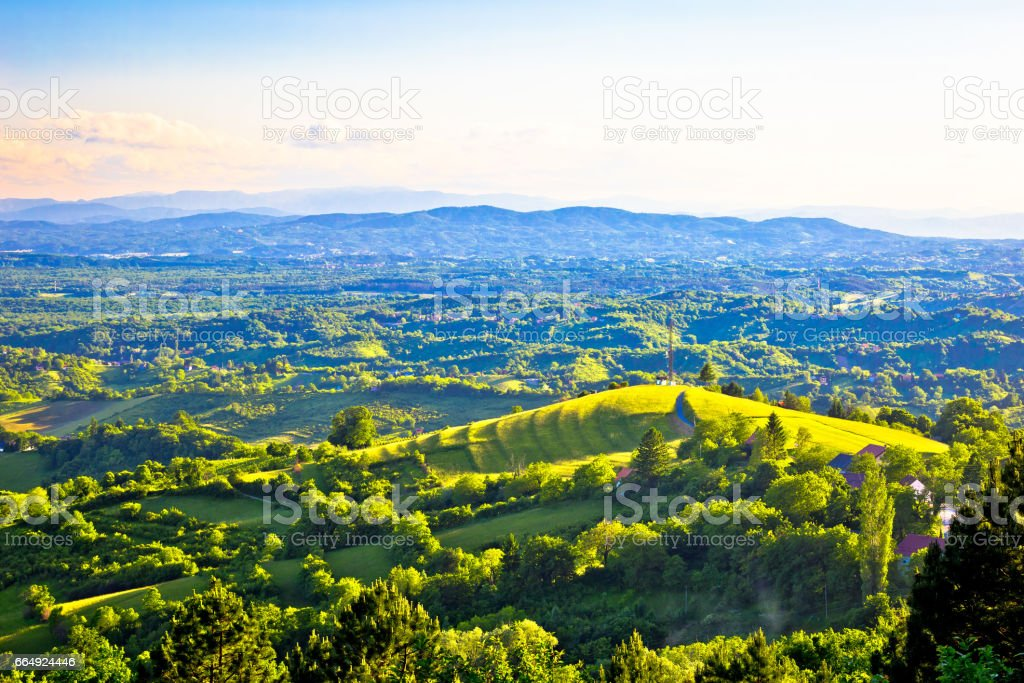 Picturesque green hills of Plesivica view, northern Croatia stock photo