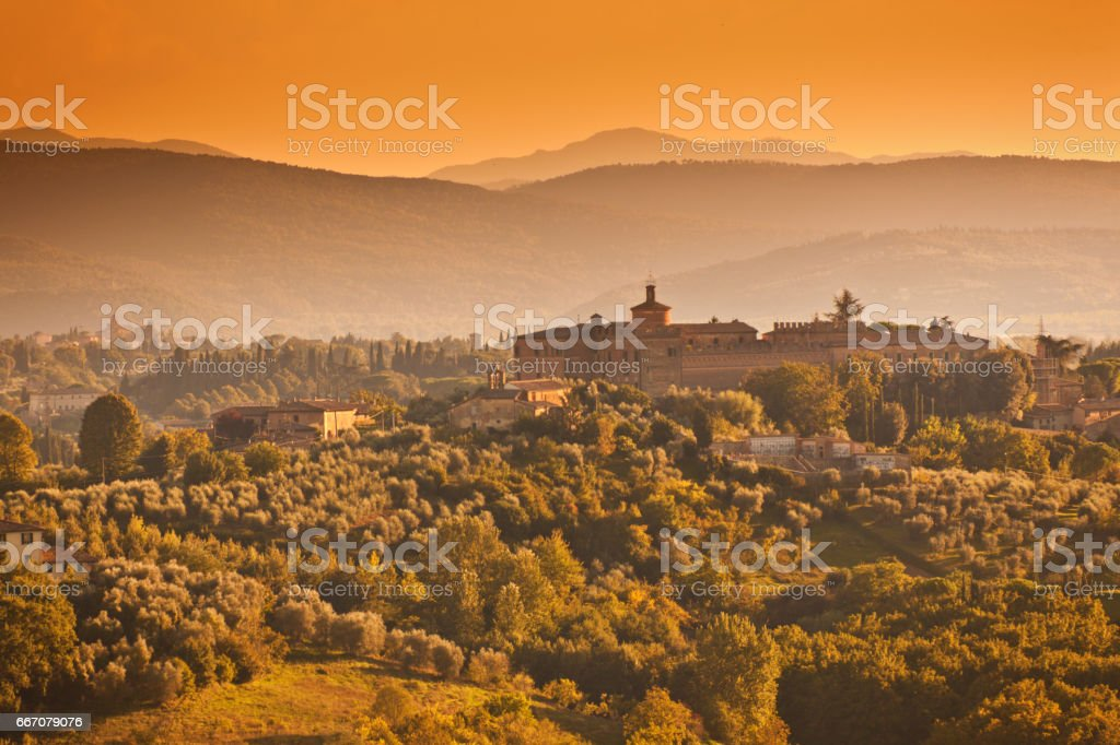 Picturesque Historic Landscape Hill Town of Sienna, Tuscany, Italy at Sunset stock photo
