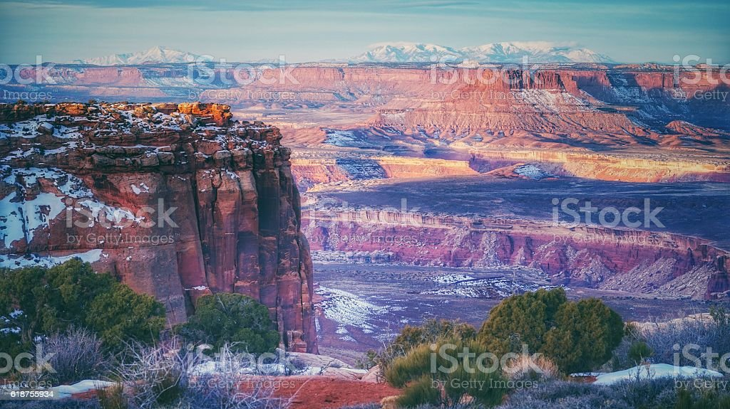 Picturesque Island In the Sky, Canyonlands, Snow, Winter, Utah stock photo