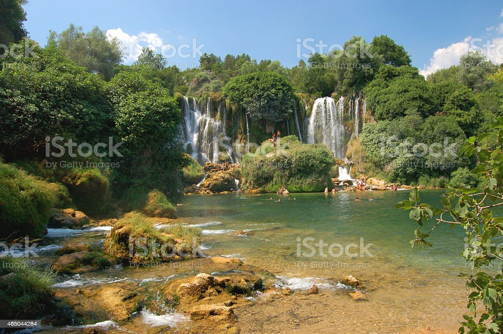 Picturesque Kravica waterfalls, Bosnia and Hercegovina stock photo