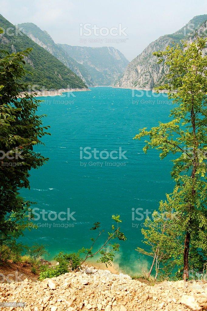Picturesque Lake Pivsko in Montenegro stock photo