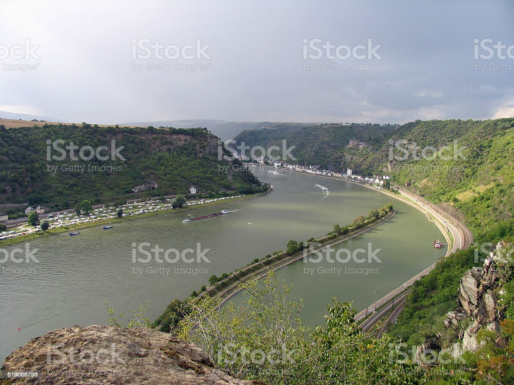 Picturesque landscape of Middle Rhine river. View from Lorelei rocks stock photo