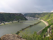 Picturesque landscape of Middle Rhine river. View from Lorelei rocks