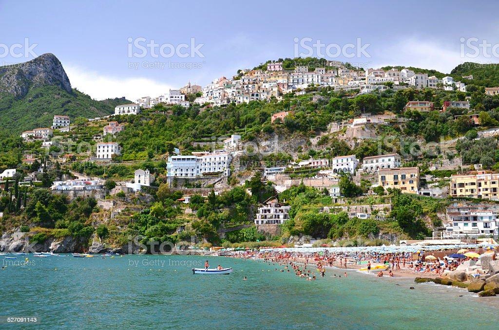 Picturesque landscape of vietri sul mare beach, Italy stock photo