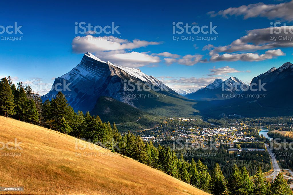 Picturesque landscape photo of Banff on a partly cloudy day stock photo