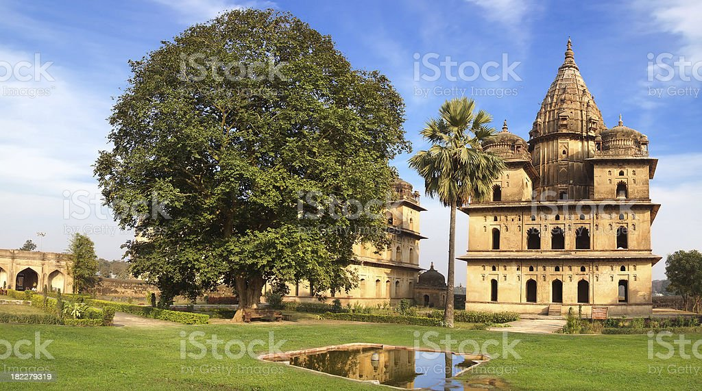 Picturesque landscape with Cenotaphs In Orchha, India stock photo