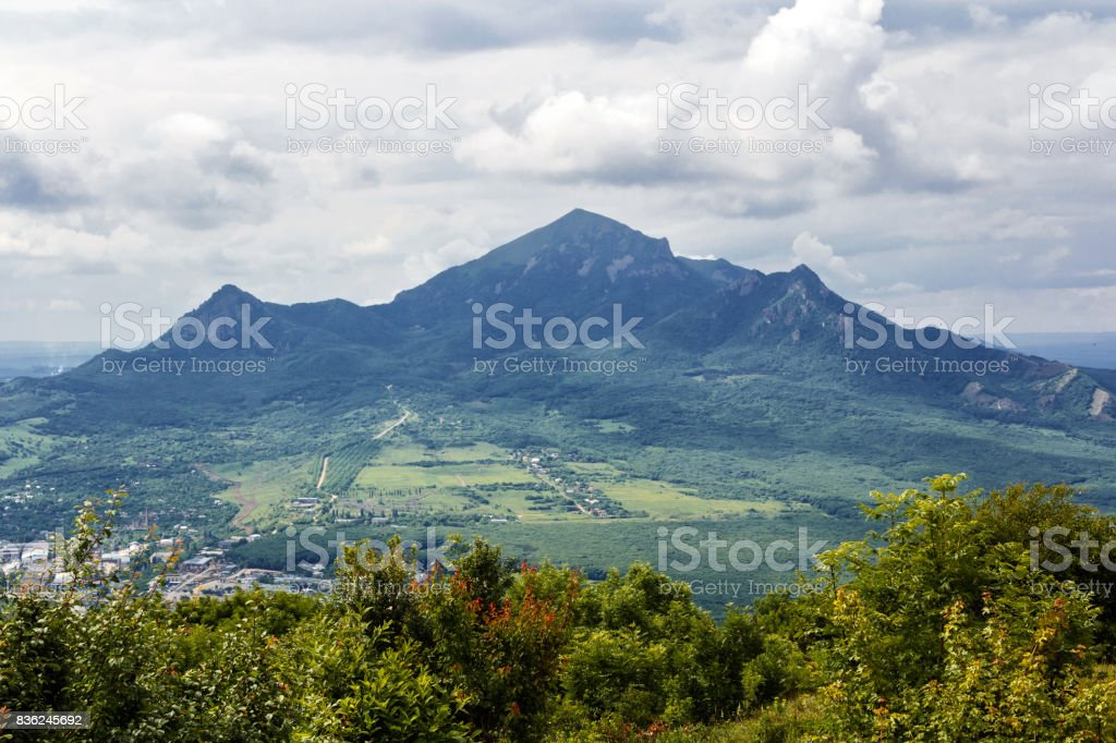 Picturesque landscape with Russian Caucasus mountains stock photo