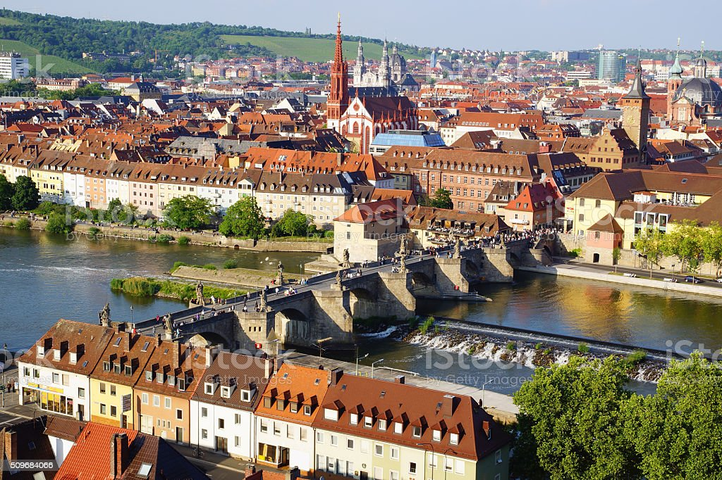 Picturesque landscape with Wurzburg, Germany stock photo