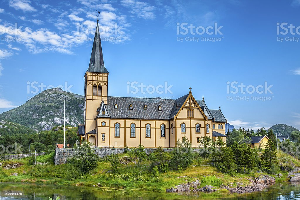 Picturesque Lofoten cathedral on Lofoten islands in Norway stock photo
