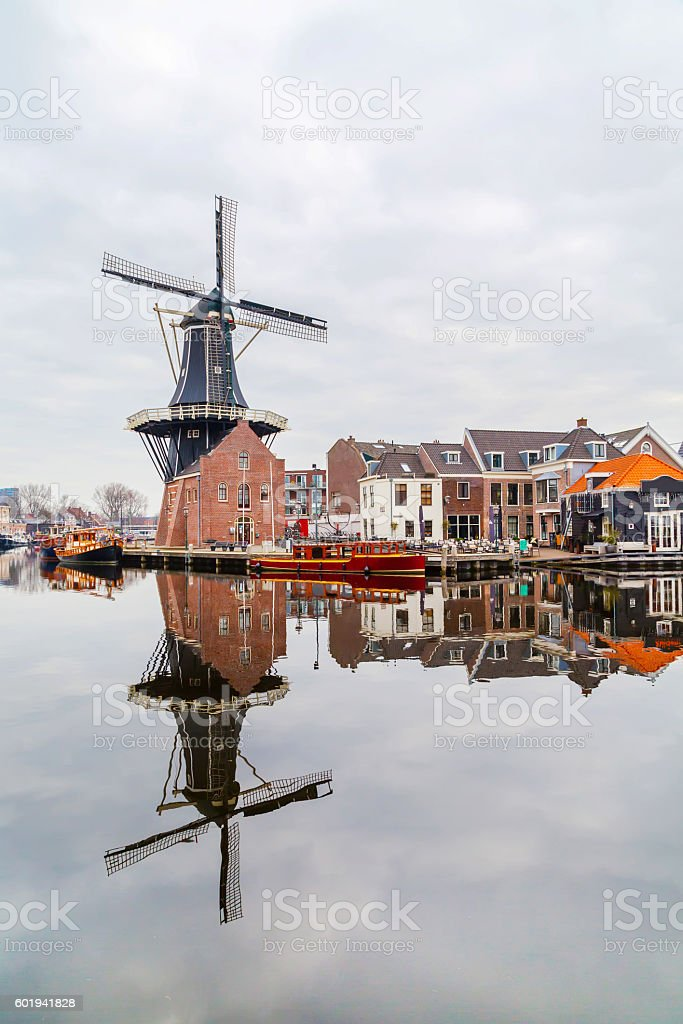 Picturesque morning landscape with the windmill, Haarlem, Holland stock photo