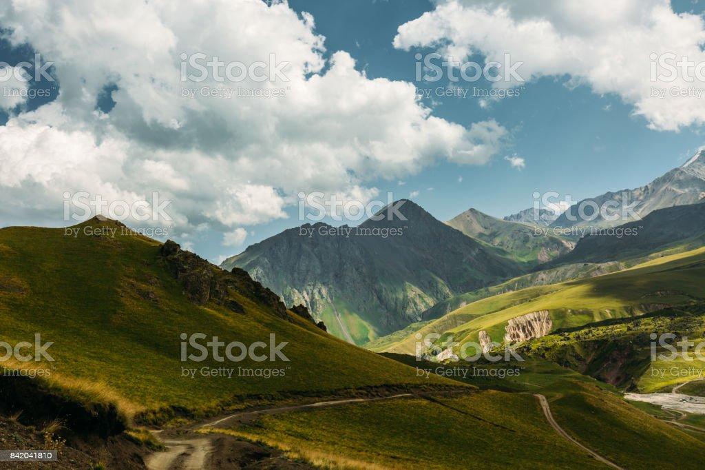 Picturesque Mountain Landscape In Summer. Elbrus Region, North Caucasus, Russia stock photo