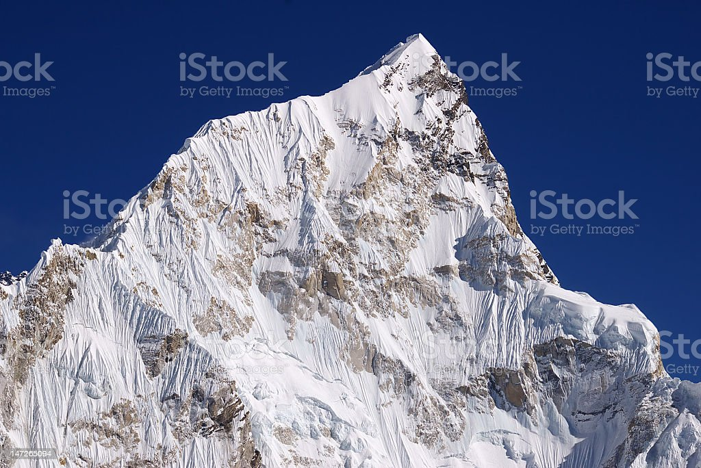 Picturesque nepalese landscape with Nupse 7864m from Kalapattar, 5545m royalty-free stock photo