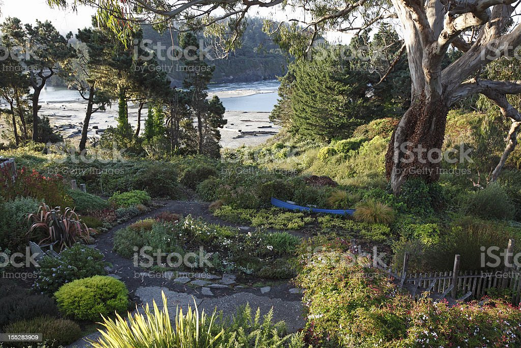 Picturesque Northern California Seaside And Garden royalty-free stock photo