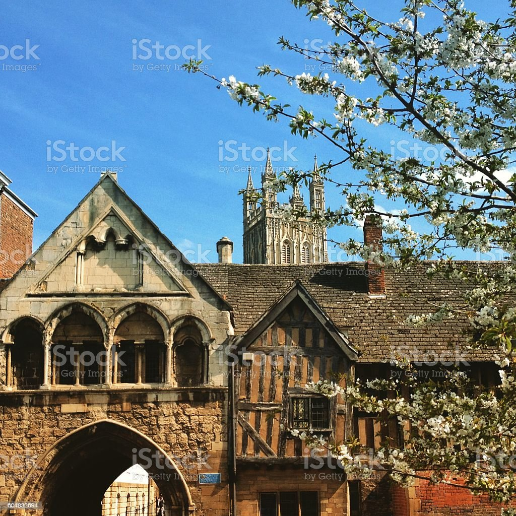 Picturesque old buildings near Gloucester Cathedral in spring sunshine, Gloucestershire stock photo