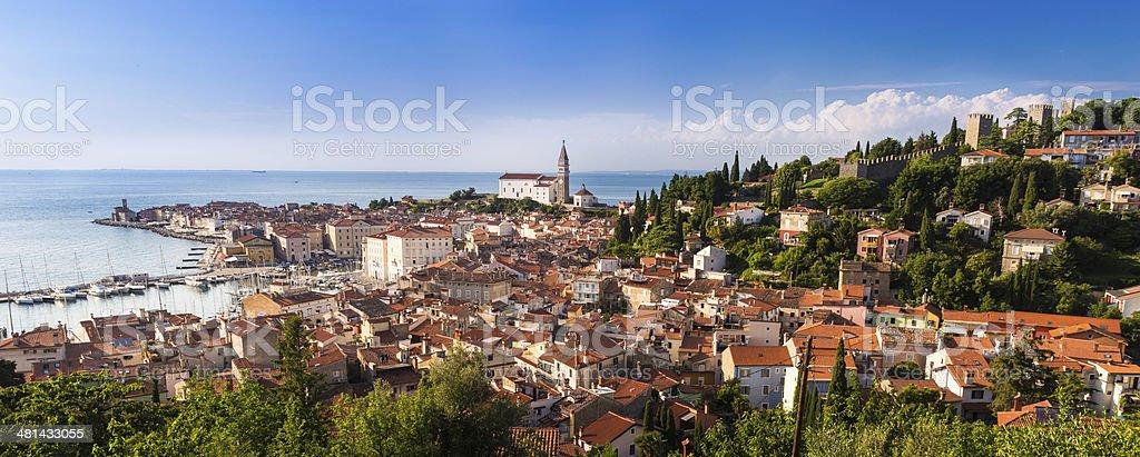 Picturesque old town Piran - Slovenia. stock photo