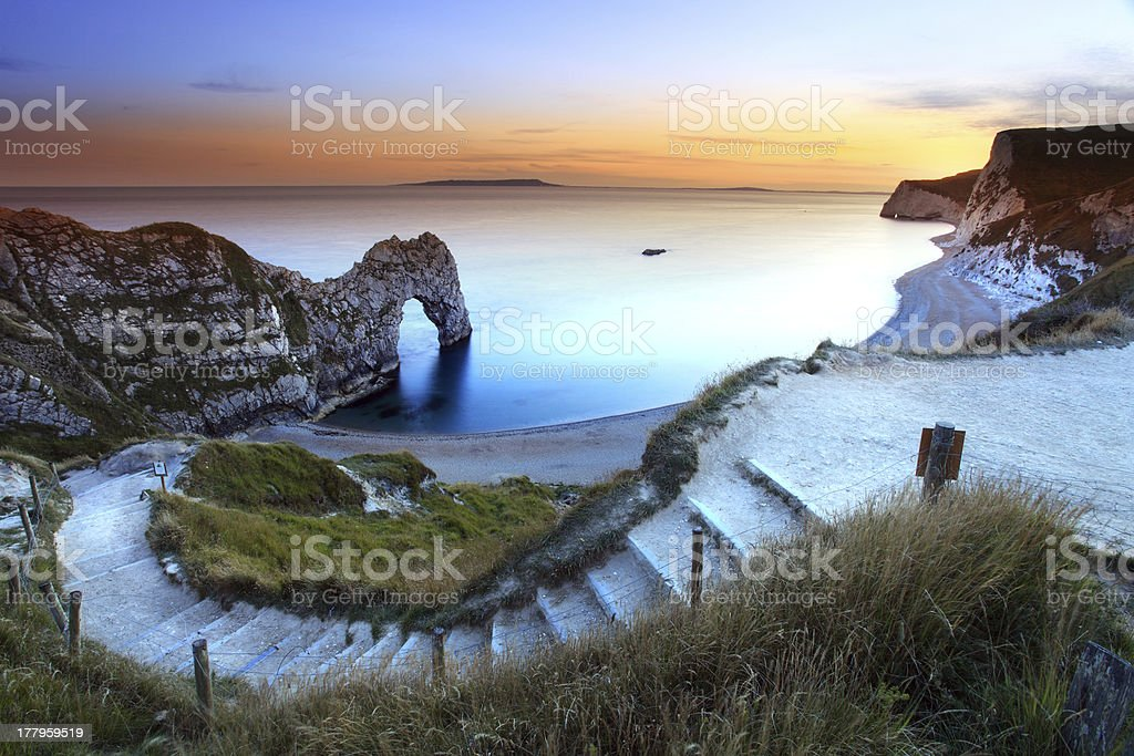 Picturesque photo of Durdle Door Sunset stock photo