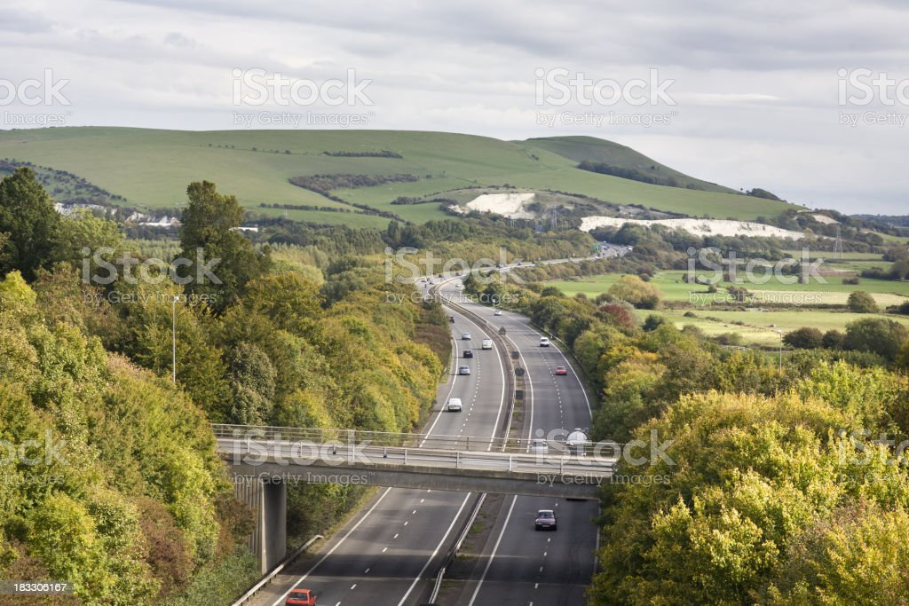 Picturesque road in English countryside stock photo
