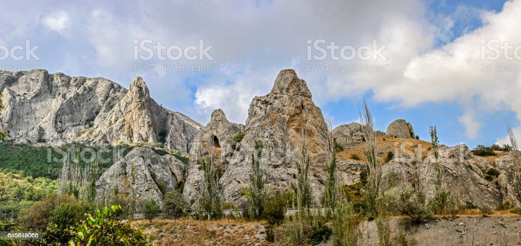 Picturesque rocks around the village of Sun Valley. stock photo