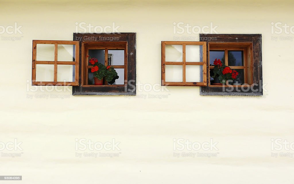 Picturesque rural windows. Open in gesture of hospitality royalty-free stock photo