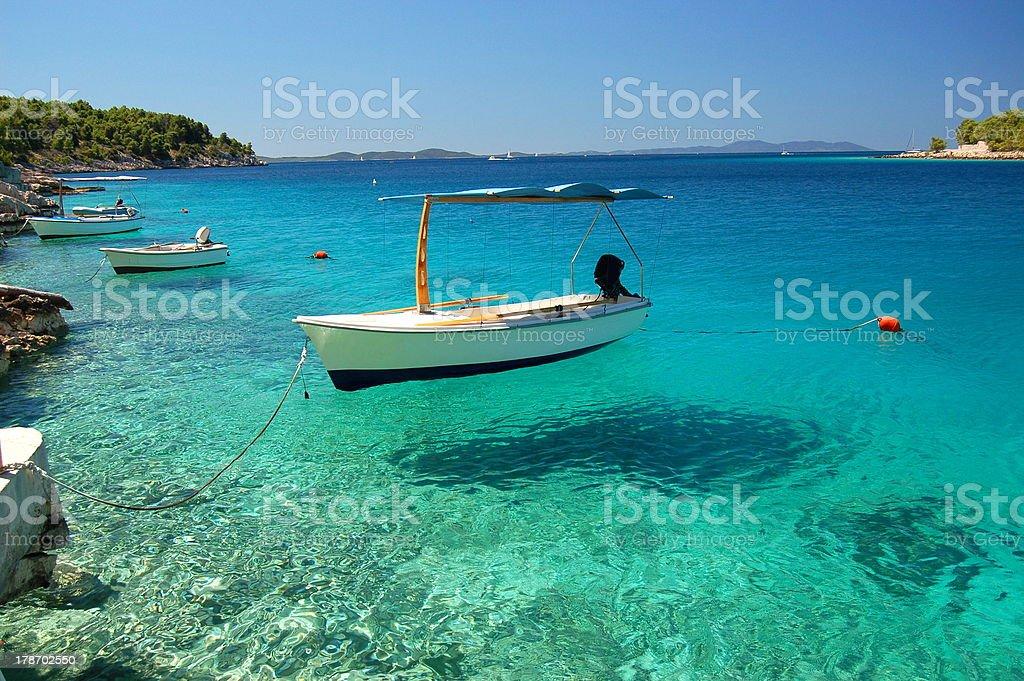 Picturesque scene of boats on Adriatic bay -Brac island, Croatia stock photo