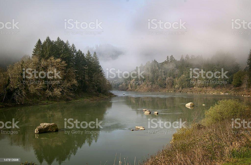 Picturesque scene of Oregon's Umpqua River stock photo