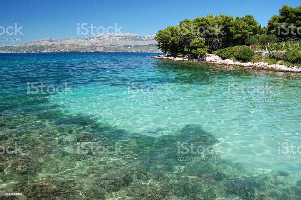 picturesque scenic view of sandy beach on brac island, croatia stock photo