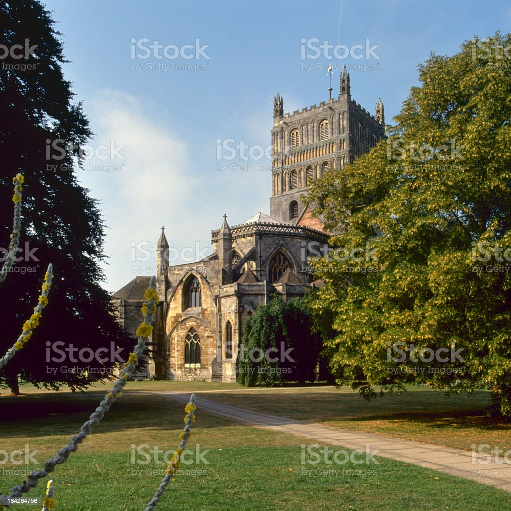 Picturesque Severn Vale, Tewkesbury Abbey stock photo