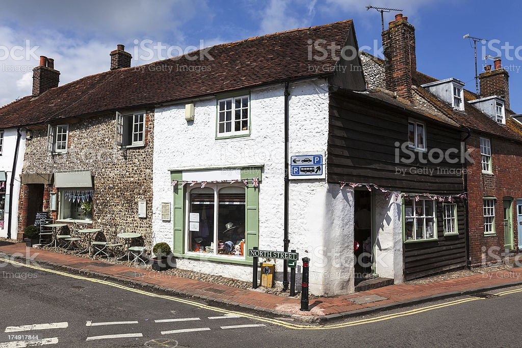 Picturesque shops in Alfriston, England stock photo