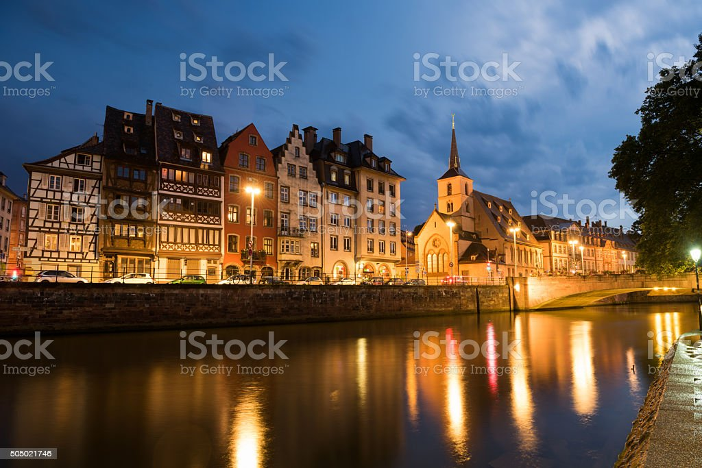 Picturesque Strasbourg France at dusk stock photo