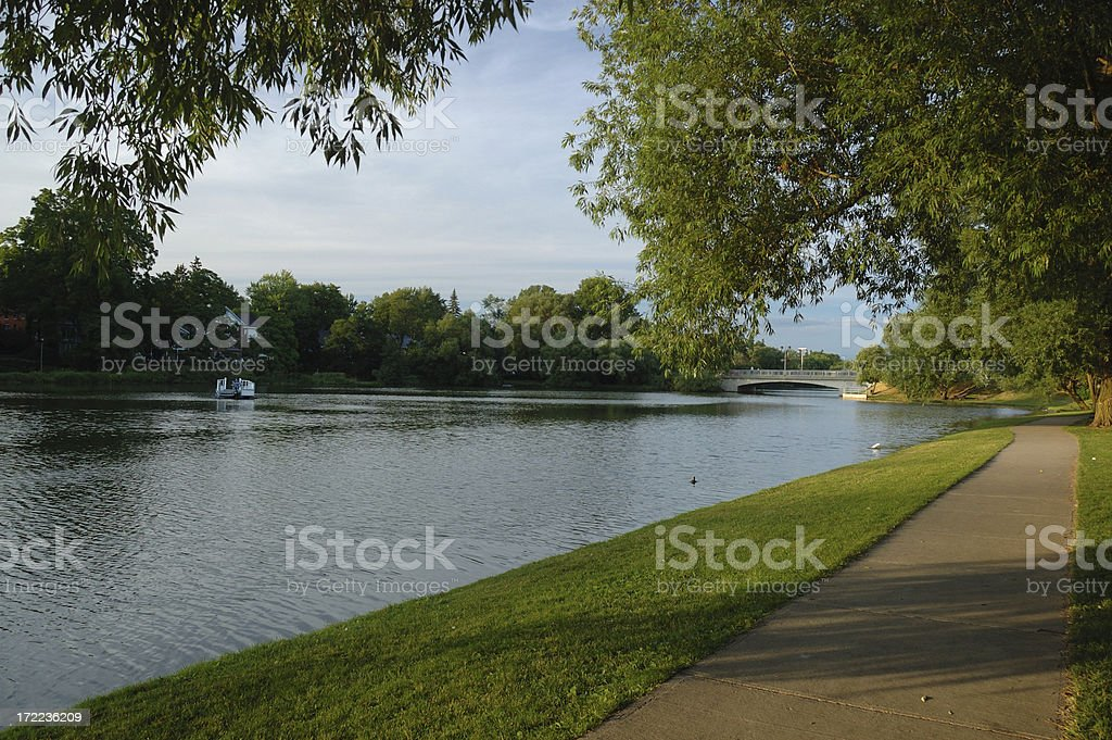 Picturesque Stratford river walkway stock photo