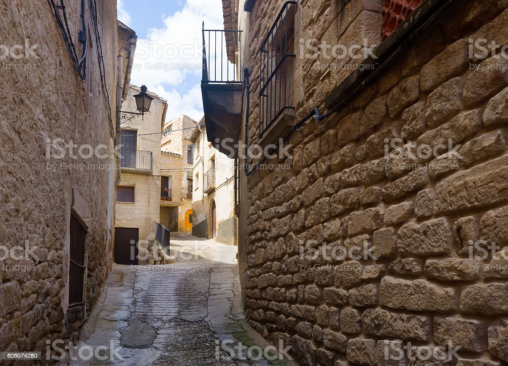 picturesque street in  Calaceite stock photo