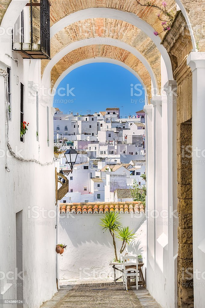 Picturesque street of Andalusian village, Vejer de la Frontera, stock photo
