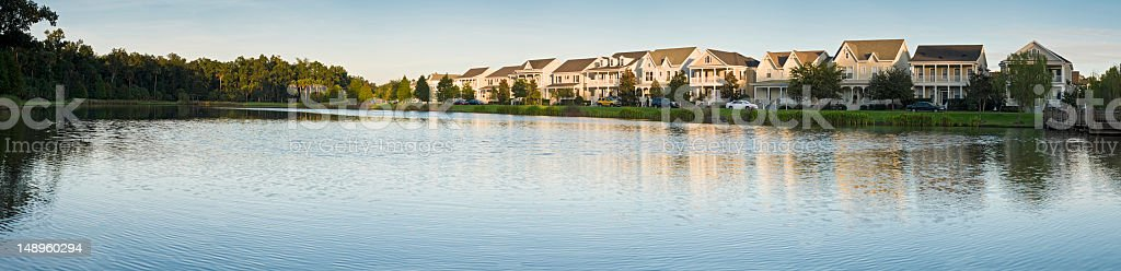 Picturesque suburbs lakeside royalty-free stock photo