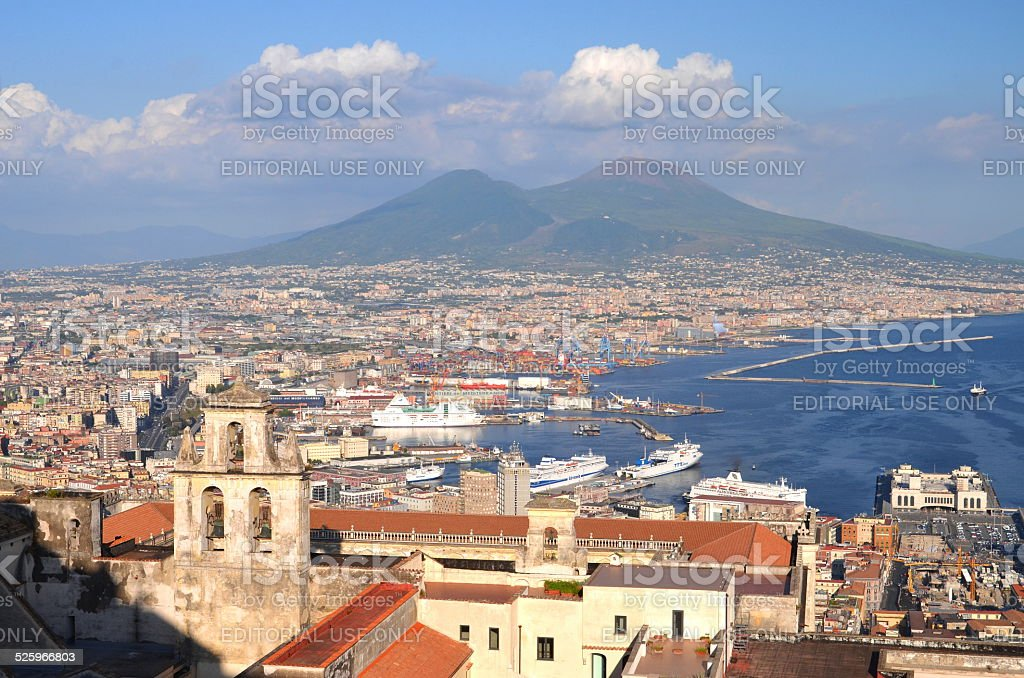Picturesque summer panorama of Naples and Vesuvius in Italy stock photo