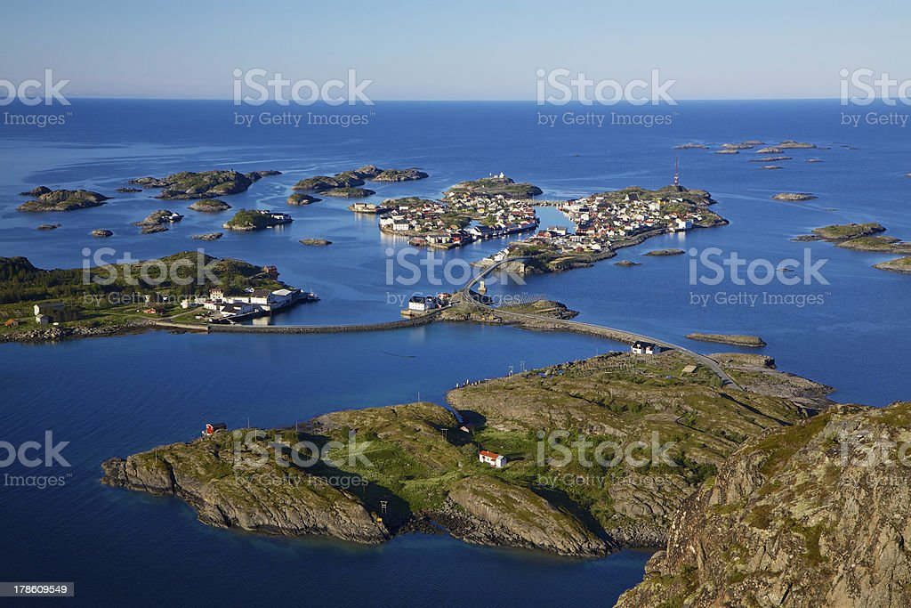 Picturesque town on Lofoten royalty-free stock photo