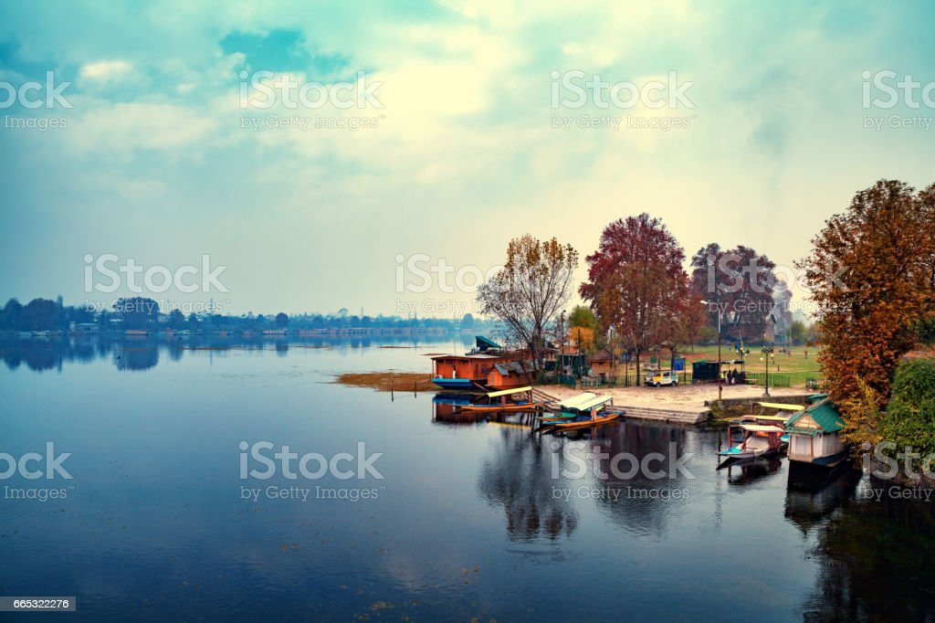 A picturesque view of boarding point for Shikara boats at Nageen Lake in Srinagar stock photo