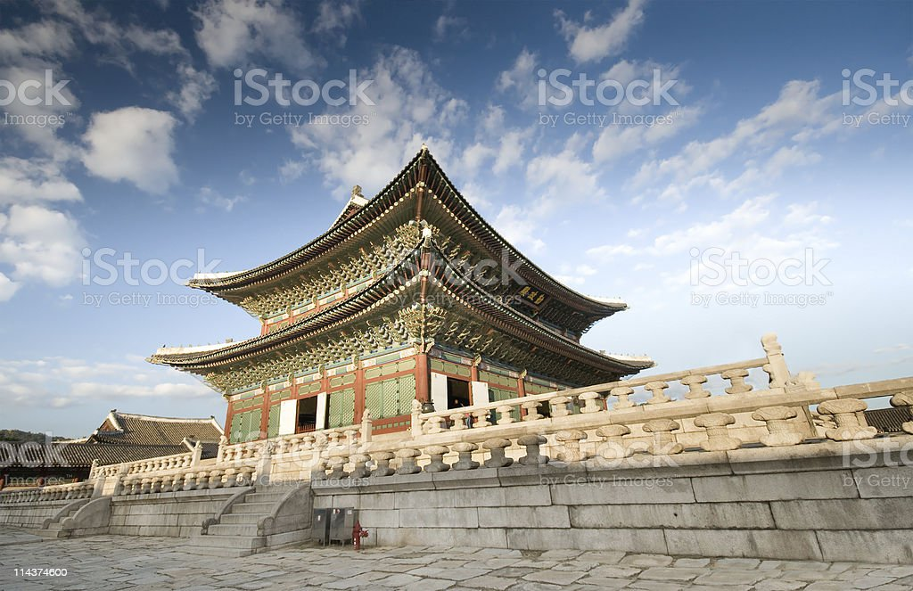 A picturesque view of Gyeongbok Palace in the daytime stock photo