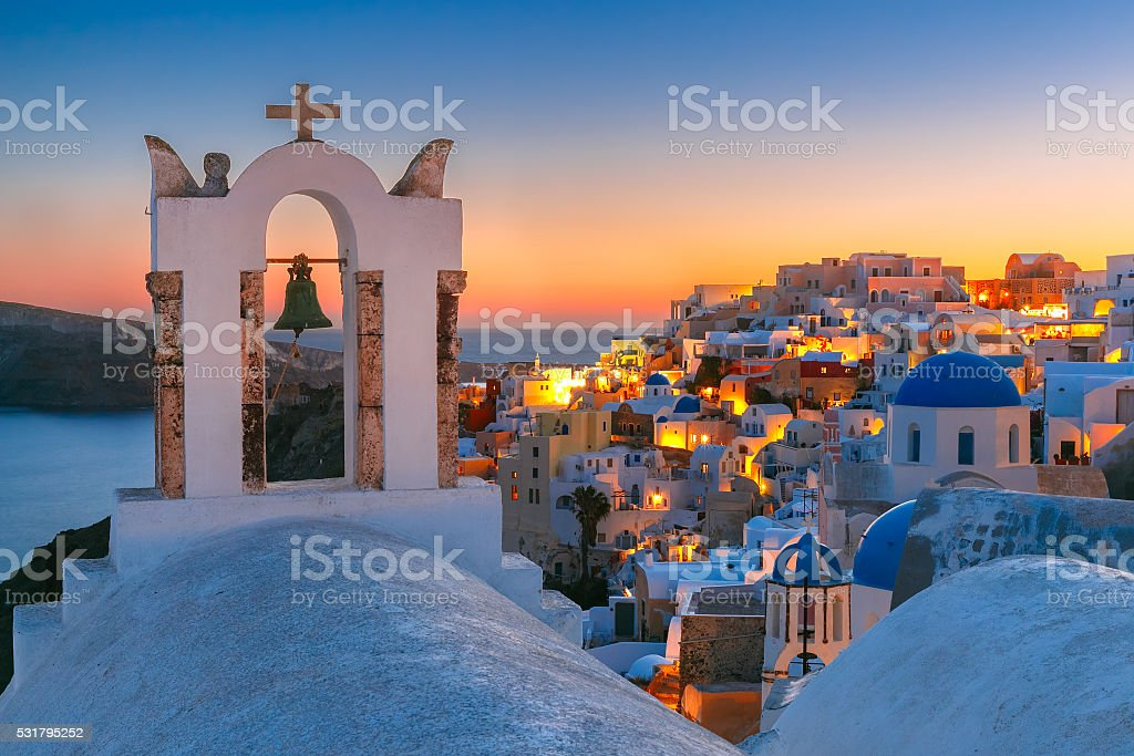 Picturesque view of Oia, Santorini, Greece stock photo
