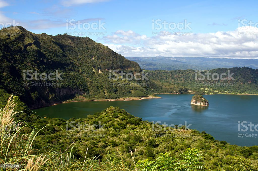 Picturesque View of Taal Volcano Crater stock photo