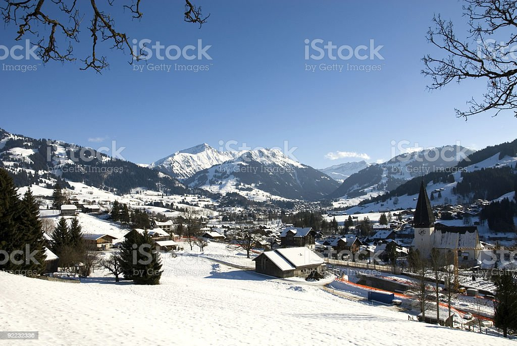 A picturesque view of winter in the mountains stock photo